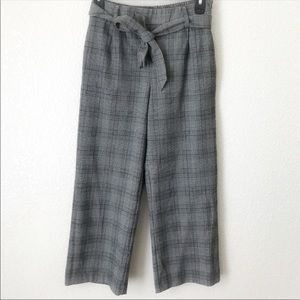 Zara Gray Plaid Culotte Trousers Pants With Bow XS